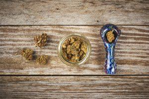 marijuana and glass pipe
