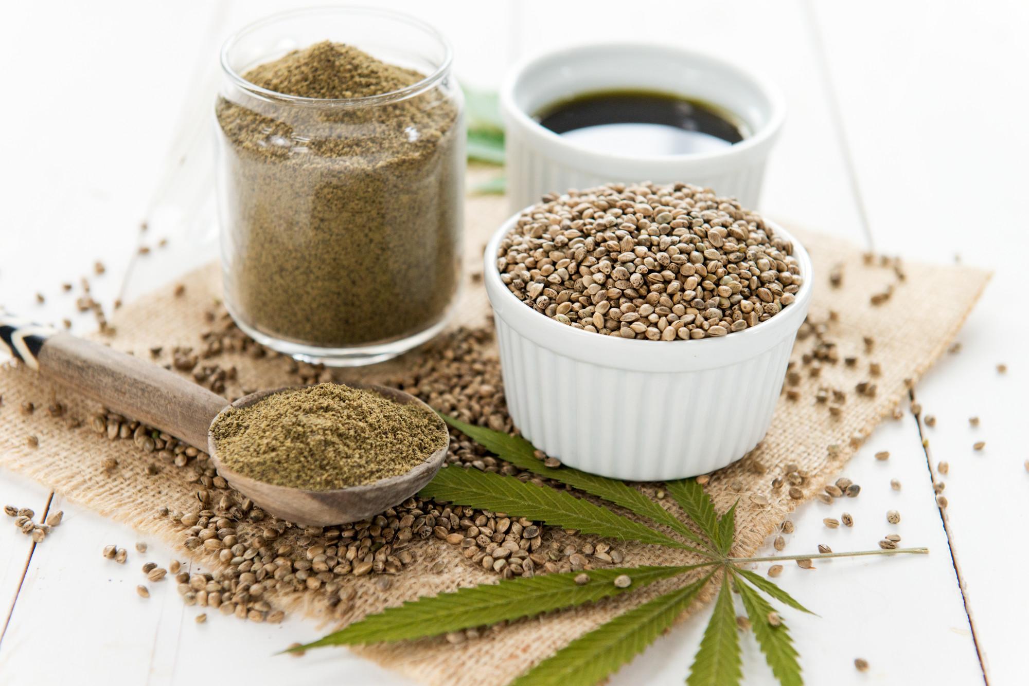 cbd oil, seeds and powder